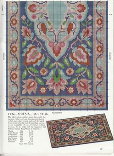 Billedresultat for patons turkey rug wool color chart Cross Stitch Love, Cross Stitch Flowers, Cross Stitch Designs, Diy Embroidery, Cross Stitch Embroidery, Embroidery Patterns, Needlepoint Patterns, Cross Stitch Patterns, Latch Hook Rugs