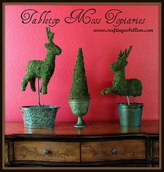 Holiday Tabletop Moss Topiaries   Tutorial at www.craftingrebellion.com