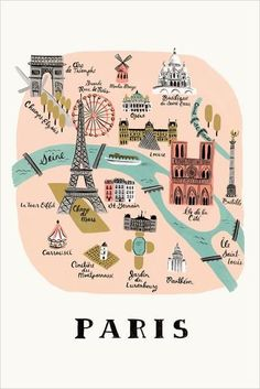 18 x Illustrated Art Print created from an original gouache painting by Anna Bond. Paris Print by Rifle Paper Co. Home & Gifts - Home Decor - Wall Art Austin, Texas Rifle Paper Company, Paris Map, Paris Travel, France Travel, Paris Poster, Travel Maps, Travel Posters, Paris Kunst, Illustration Parisienne