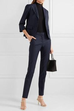 The Row – Franklin wool slim-leg pants - business professional outfits for interview Business Professional Outfits, Business Casual Outfits, Business Attire, Office Outfits, Business Fashion, Work Outfits, Business Formal, Easy Outfits, Stylish Outfits