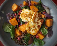 Roasted sweet potato, lentil and spiced halloumi salad - CookTogether