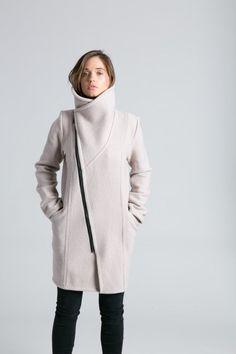 NEW Stylish Jacket / High Collar Sweater Jacket / Asymmetrical Jacket / Trench Coat / Wool Jacket marcellamoda - MC786