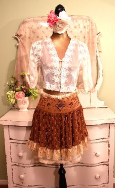 Boho Beaded Skirt Bohemian Vintage Lace One of a by SownThreads