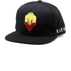 Elevn Clothing Co Plastic Gangsta Snapback Black ($28) ❤ liked on Polyvore featuring men's fashion, men's accessories and black