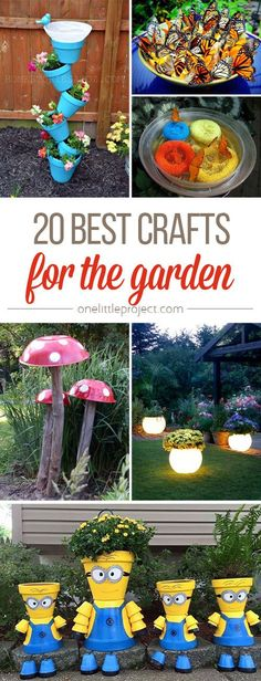 garden crafts are SO FUN! From glow in the dark planters to DIY butterfly . - These garden crafts are SO FUN! From glow in the dark planters to DIY butterfly . Garden Ideas To Make, Diy Garden Projects, Diy Garden Decor, Kids Garden Crafts, Garden Decorations, Recycled Garden Crafts, Diy Decoration, Butterfly Feeder, Diy Butterfly