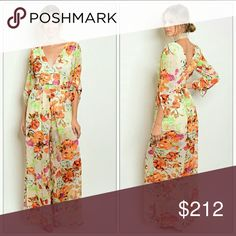 """Floral jumper  NWOT New item,  no tags  Spring time Floral jumpsuit! Multi color-belt included-zipper on back-vneck Outer layer sheer/Partial lining  SMALL -BUST34""""-waist 26""""-length 57"""" -inseam 31"""" MEDUIM -BUST 36""""-waist 28""""-length 58"""" -inseam 31"""" LARGE -Bust39""""-waist 31""""-length 59""""- inseam 32"""" Meaurements are approx   PRICE IS FIRM Pants Jumpsuits & Rompers"""