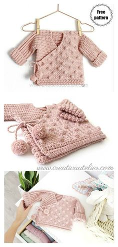 Baby Kimono Sweater Free Crochet Pattern Source by cottercindy Beachwear Crochet Baby Cardigan Free Pattern, Crochet Baby Jacket, Crochet Baby Sweaters, Newborn Crochet Patterns, Baby Sweater Patterns, Knitted Baby Clothes, Baby Clothes Patterns, Baby Girl Crochet, Free Crochet