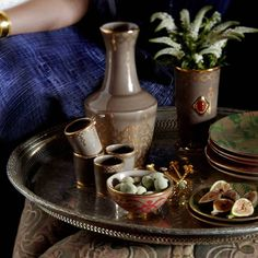 L'objet Fortuny Rabat Digestifs (Set Of - Gold Grey Dinnerware, Water Carafe, Vide Poche, Inventions, Artisan, Dining, Inspiration, Summer Travel, Venice