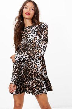 boohoo Gwen Drop Hem Leopard Print Shift Dress