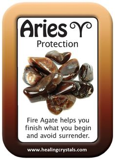 ARIES HEALING CARD: PROTECTION.   Fire Agate helps you finish what you begin.  http://www.healingcrystals.com/Beads_-_Mexican_Fire_Agate_Beads__India_.html  Use code HCPIN10 to receive a 10% discount on your purchase