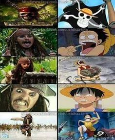The comparison between captain jack sparrow and luffy from one piece.