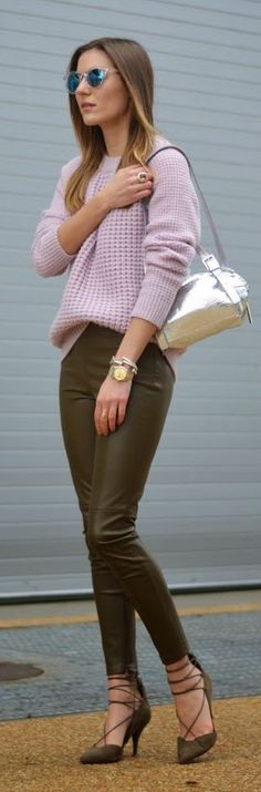 Lilac & olive: leather pants, sweater, shoes, silver backpack.