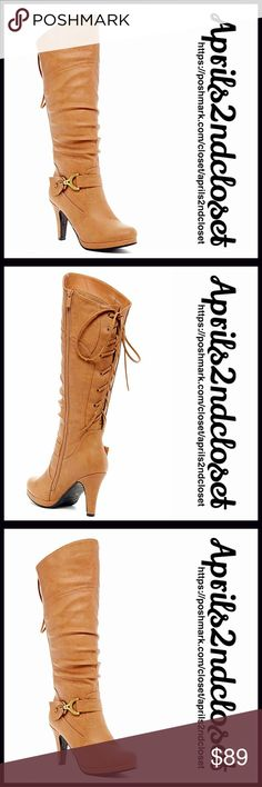 """Tall BOOTS Lace Up Back Heeled Boots NEW WITH TAGS RETAIL PRICE: $125 Tall BOOTS Lace Up Back Heeled Boots  * Allover faux Suede leather & Topstitch construction    * Almond toe   * Lace up back shaft detail & side zip closure, & strap w/metal buckle accents  * About 15-17.5"""" shaft & 15"""" opening  * 3.5"""" stiletto high heels  Fabric: Manmade upper & sole Color: Taupe Item:  No Trades ✅ Offers Considered*✅ *Please use the blue 'offer' button to submit an offer. Boutique Shoes Lace Up Boots"""