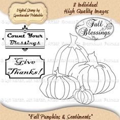 Perfect for Fall Decorating and Paper Crafts - Fall Pumpkins Digital Stamps & Word Art Labels by SpectacularPrintable on Etsy, $3.00