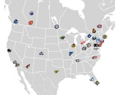 Map that shows where all 30 of the NHL teams are located.