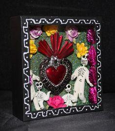 Day of the Dead Family & Tin Milagro Sacred Heart, Shadow Box, Mexican Folk Art!