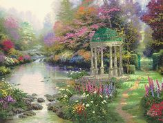 "Accessory Workshop - Thomas Kinkade Garden Of Prayer Embellished Cross Stitch Kit - 16""X12"" Printed"