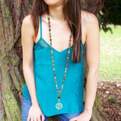 Green Tara- 108 bead Mala meditation necklace beaded with Malachite, Bodhi Seeds. Sterling Silver spacers, Tiger Eye and vintage Tibetan Om Pendant by 100 Graces, $89.00