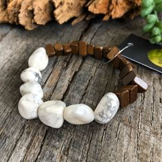 Wood + Natural Fossil Stone Bracelet at Shoebox Market