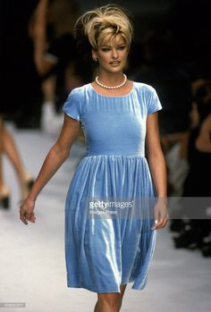 Linda Evangelista at the Chanel Spring 1996 show circa 1995 in Paris, France.