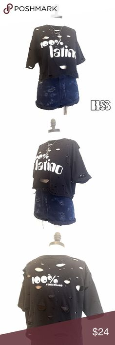 100% LATINO VINTAGE REWORKED DISTRESSED T-SHIRT!! 100% LATINO VINTAGE REWORKED DISTRESSED T-SHIRT!! Double image front and back! Fabric is soft and worn in with distressing all over garment! 100% VENEZOLANO!!!!                                                   LENGTH: 17'                                                          BUST: 21' Vintage Tops Tees - Short Sleeve
