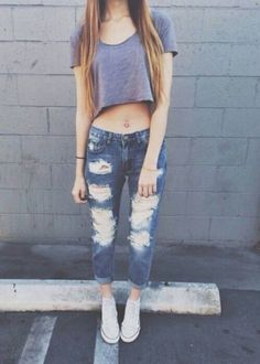 casual, crop top, cute outfit, my style, outfit, ripped jeans,