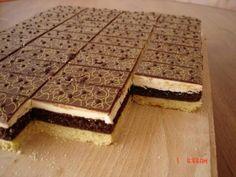 Kráľovské rezy  Na těsto:40 dkg polohrubé mouky 25 dkg hery 2 žloutky *ořechová náplň:4 vejce 12dkg moučkový cukr 1 vanilkový cukr 1-2 lžíce kakaa 15dkg mletých ořechů *pudinkový krém: 350 ml mléka 1 vanilkový pudink 4 lžíce cukru moučky 20dkg másla 2 lžíce rumu čokoládová poleva