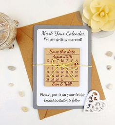 Custom Save the Date Magnet Set Wood Save by YourWeddingProject