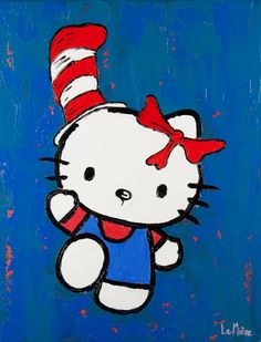 Philippe Le Miere Original Canvas Oil Painting 'Hello Kitty Cat in The Hat' | eBay