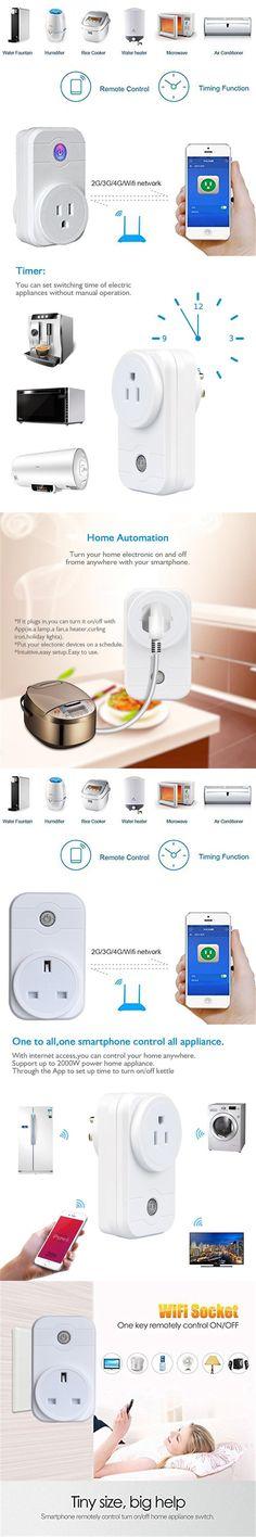 Smart home wifi Power Socket Plug Outlet Timer Support Amazon Alexa Voice Control for Andriod IOS Smartphone EU/US/UK/AU Plug