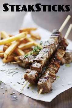 Steak Frites on a Stick- perfect to keep your 3- 4 oz, male with baked fries and have a nice dessert!