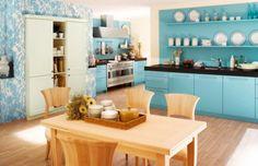 Color azul y celeste en la cocina