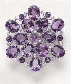 MARGHERITA BURGENER  An Amethyst and Diamond Brooch