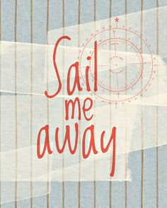 Sail Away - 8x10 Typography Print  - Red White and Blue, Compass, Nautical - Cape Cod, Beach Cottage - Faded, Rope, Denim, Sailor. $18.00, via Etsy.