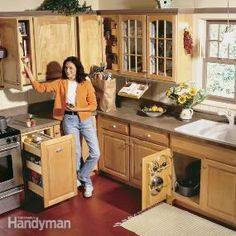 These 5 projects will create more space in your cabinets. You can unlock hidden storage space in your kitchen by opening up the hard-to-get-at corners, nooks and crannies of your cabinets. Squeeze more space from deep base cabinets and corner cabinets and add versatile new features to old cabinets.