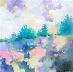 """Spring in the Meadow 20x20"""" abstract landscape painting, colorful, original by Kerri Blackman"""