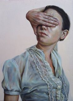 """Blinded"" - Monica Cook (b. 1948), oil on linen {figurative art female head hand woman portrait painting} monicacookart.com"