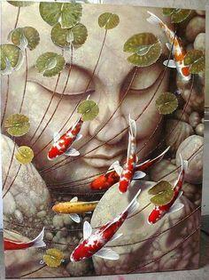 Buddha and koi Koi Kunst, Buddha Kunst, Buddha Art, Koi Art, Fish Art, Buddha Gifts, Koi Painting, Carpe Koi, Art Asiatique
