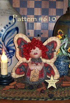 "Primitivo Patti de ratties Raggedy Ann Mariposa 5 ""Stump Muñeca ornie patrón # 610"