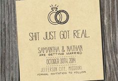 Informal Save The Date - Invitation  : 18 Wedding Ideas for Hilarious Couples : answers