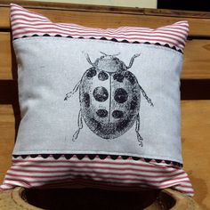 Etsy - decorative throw pillow cushion cover with lady bug screen print
