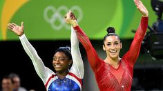 Simon Biles and Aly Raisman overall Gymnastics Gold and Silver at 2016 Rio Olympics. (Wally Skalij / Los Angeles Times)