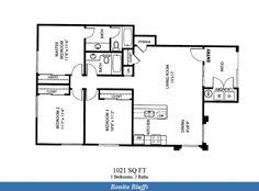 Naval Complex San Diego – Bonita Bluffs Neighborhood: 3 bedroom 2 bath apartment floor plan (1021 SQ FT).