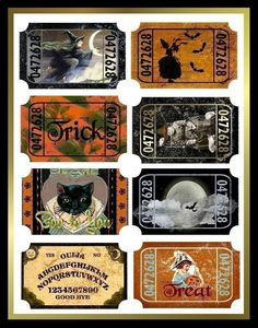 Art Vintage Halloween Tickets for Tags, Cards, Crafts Digital - ephemera -Altered Art Vintage Halloween Tickets for Tags, Cards, Crafts Digital - ephemera - Retro Halloween, Spooky Halloween, Image Halloween, Vintage Halloween Images, Halloween Labels, Halloween Prints, Holidays Halloween, Halloween Decorations, Happy Halloween