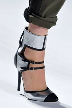 Black and silver stilettos + a chunky ankle strap at Marissa Webb spring 2014 via Elle.com