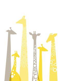 giraffes giclee print 11X14 butter yellow & gray by ThePaperNut, $30.00