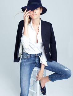 navy blazer white button up jeans
