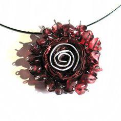 Bordeaux Wein-Anweisung Halskette Rose Blume Anhänger Jewerly