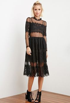 FOREVER 21 The Allflower Dotted Eyelash Lace Dress