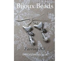 A bead jewellery making kit from Bijoux Beads featuring our silver bird charm Bird Earrings, Beaded Earrings, Bead Jewellery, Beautiful Gifts, Projects To Try, Jewelry Design, Jewelry Making, Kit, Beads